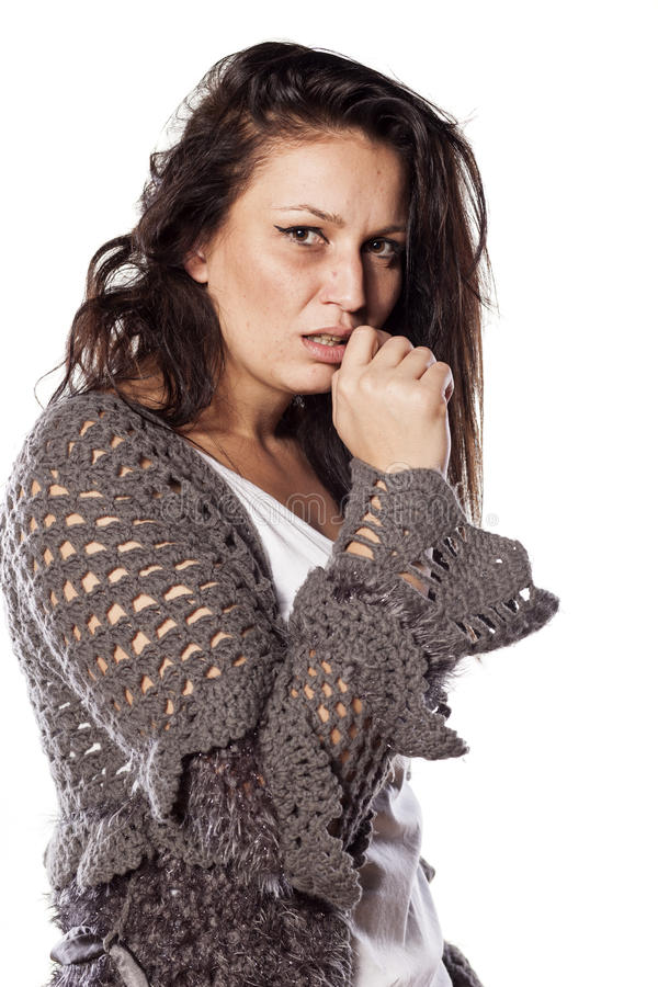 Messy and scared woman stock photos