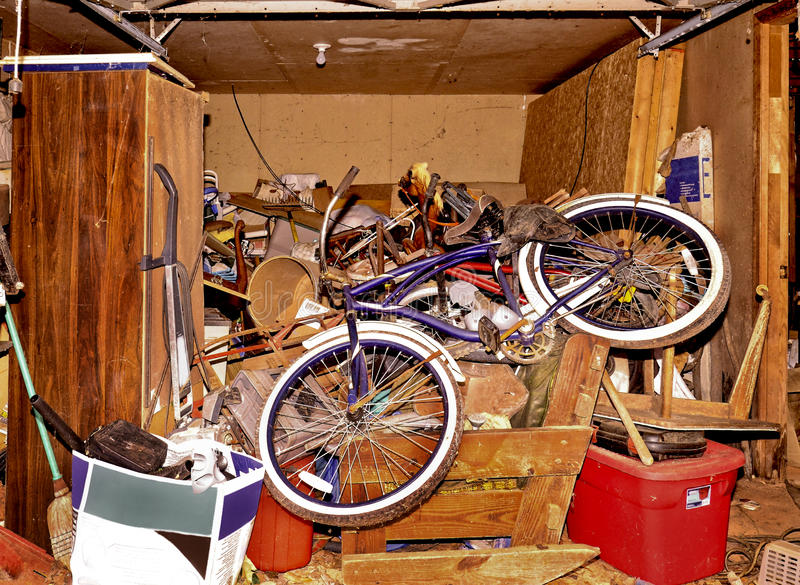 Download Messy Storage Area In House Stock Photo   Image Of Left, Bicycles:  84969872