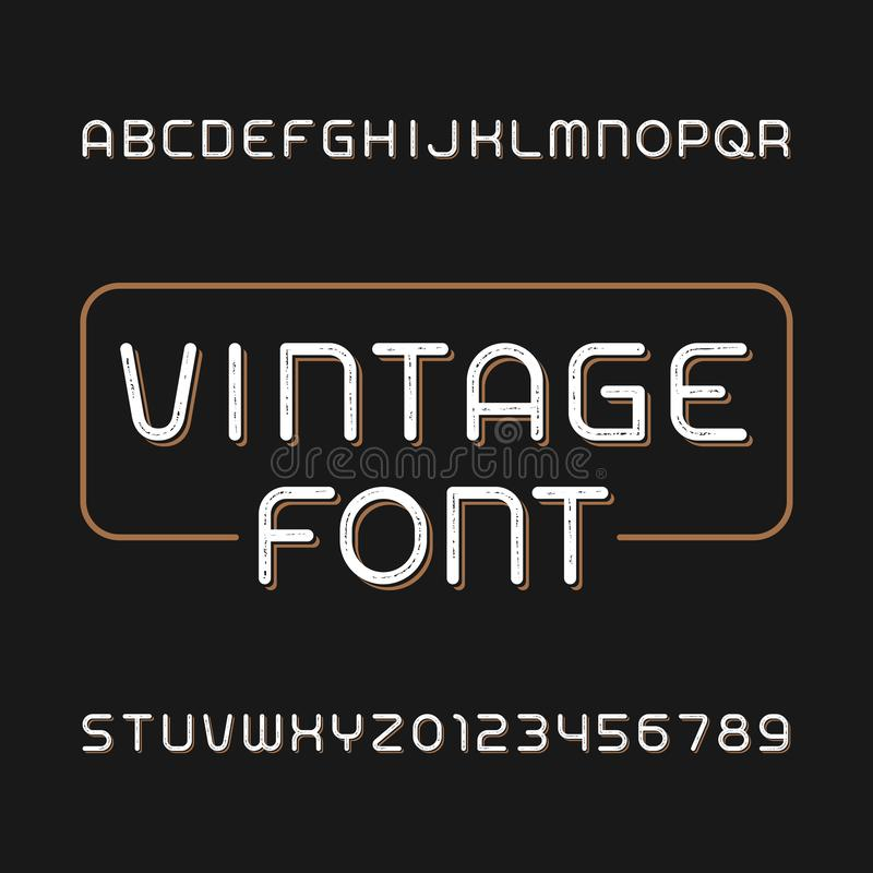 Messy vintage typeface. Retro alphabet font. Type letters and numbers. Stock vector typeface for your typography design vector illustration