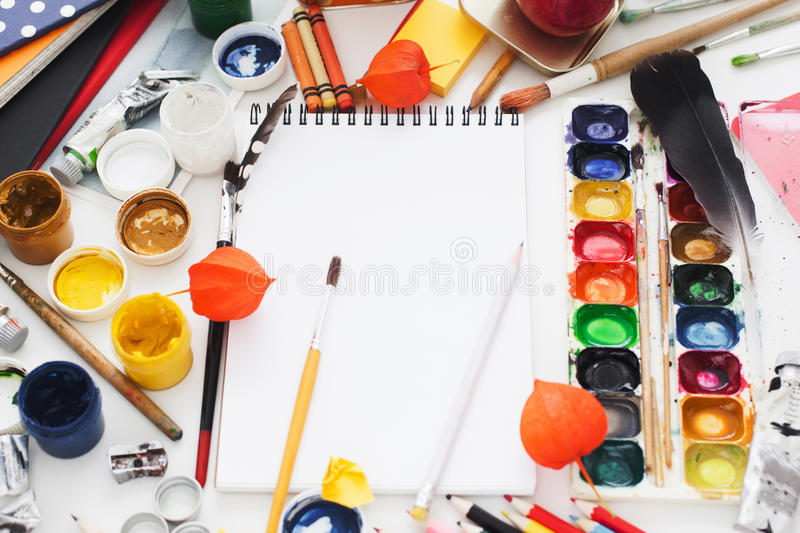 Messy workplace of creative artist, mockup stock photography