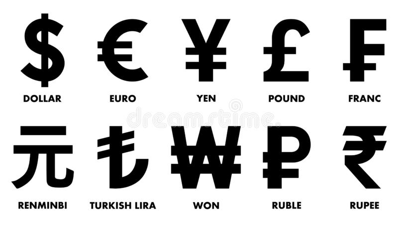 Mest använde världsvalutasymboler royaltyfri illustrationer