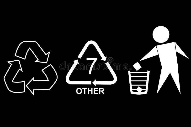 Mest berömt tecken på förbrukningsartikelprodukten: Snittet här, återanvänder, skräpar ner inte och återanvänder kod sju, vit på  stock illustrationer