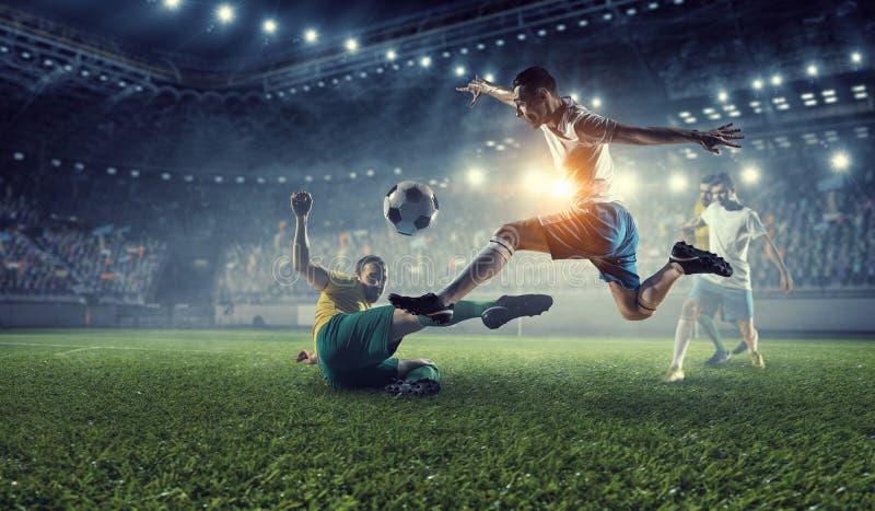 Mest bra ögonblick för fotboll Blandat massmedia royaltyfria bilder