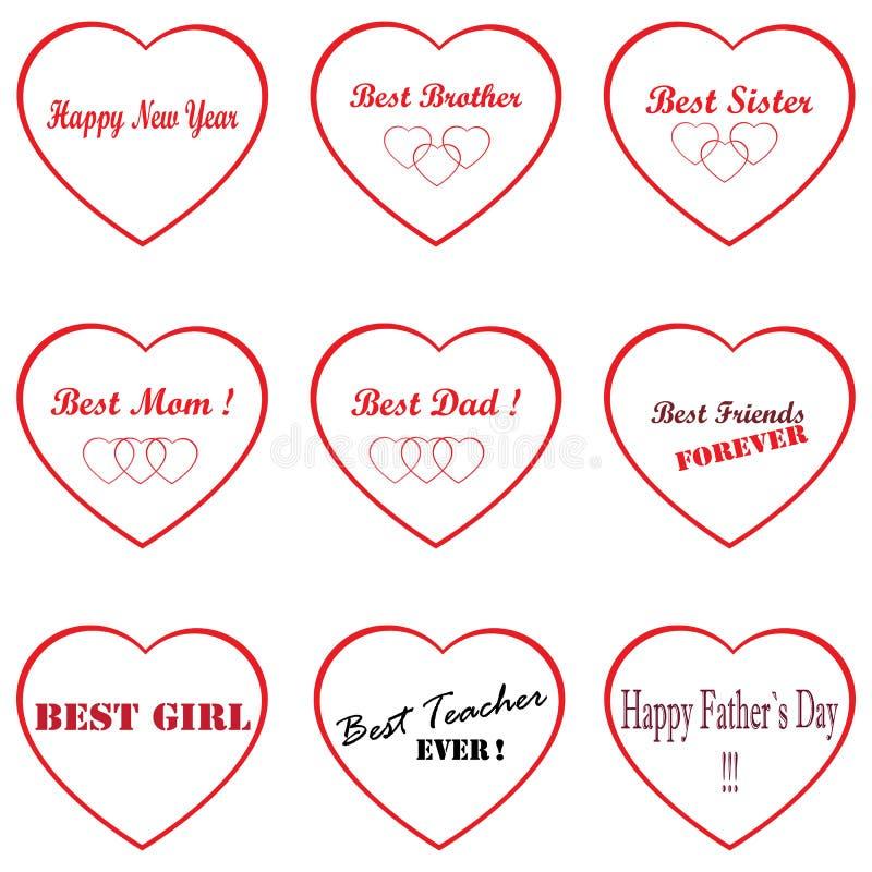 Mest bra av den bästa symbolen, mamma, farsa, syster, broder` s, lärare, flicka lyckligt nytt år Lycklig dag för fader` s stock illustrationer