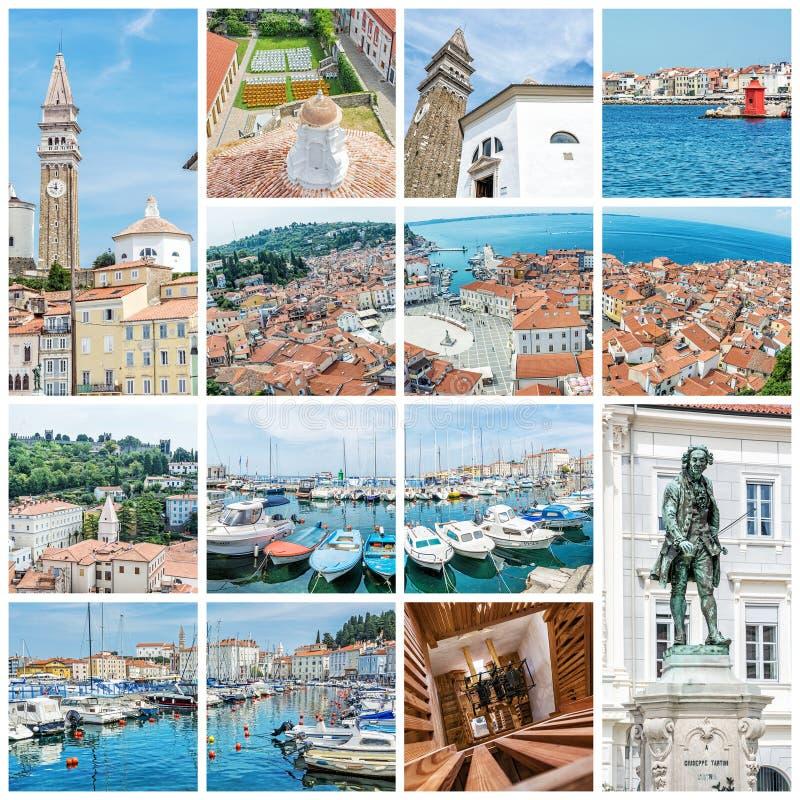 Mest bra av Piran, Slovenien, collage royaltyfria foton