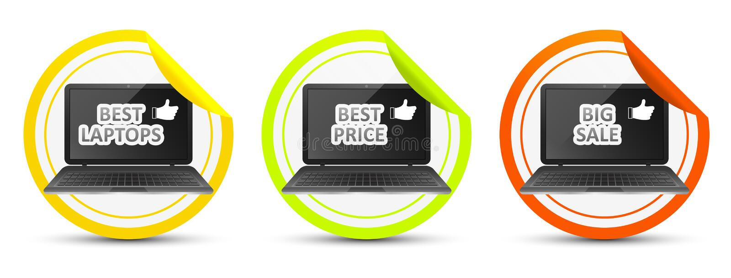 Mest bra bärbar dator bäst pris stor försäljning royaltyfri illustrationer