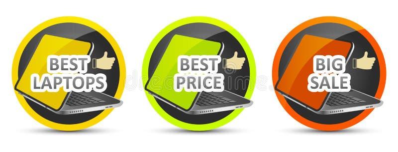 Mest bra bärbar dator bäst pris stor försäljning gears symbolen royaltyfri illustrationer