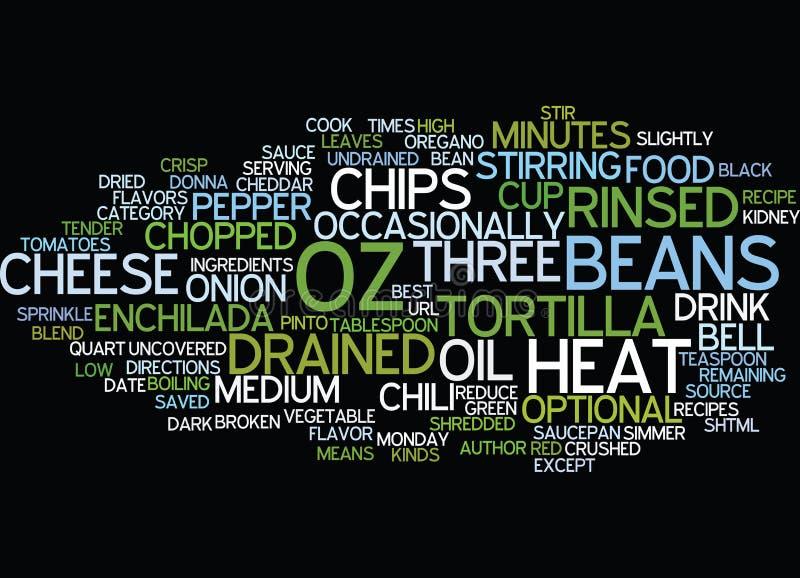Mest bra Bean Enchilada Chili Word Cloud för recept tre begrepp vektor illustrationer