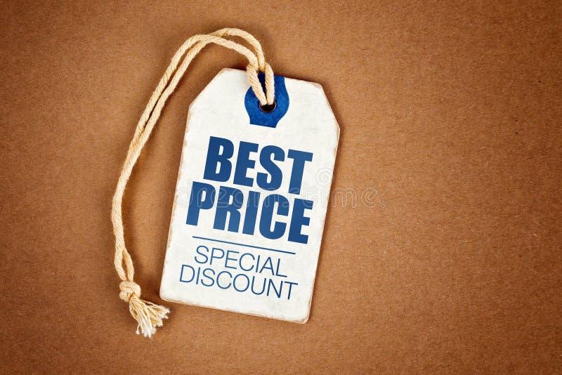 Mest bra etikett för etikett för tappning för special rabatt för pris royaltyfri foto