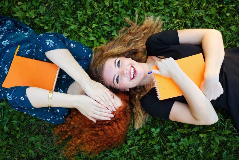 Mest bra flickvänlögn på gräsmattan fotografering för bildbyråer