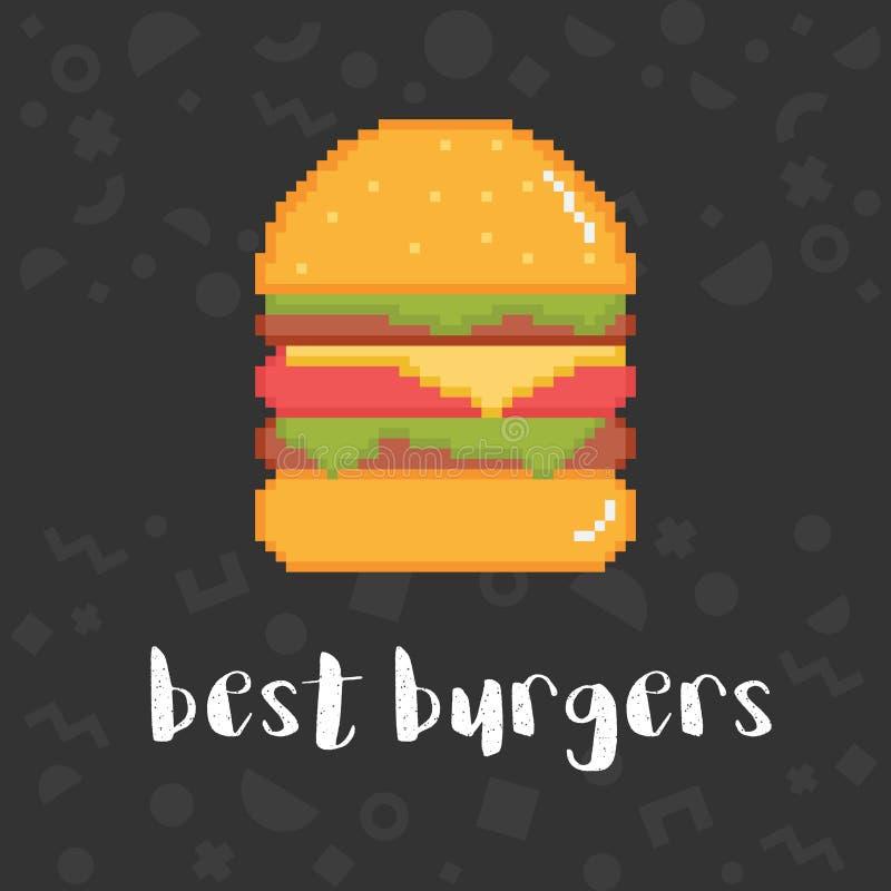 Mest bra hamburgareillustration för vektor vektor illustrationer