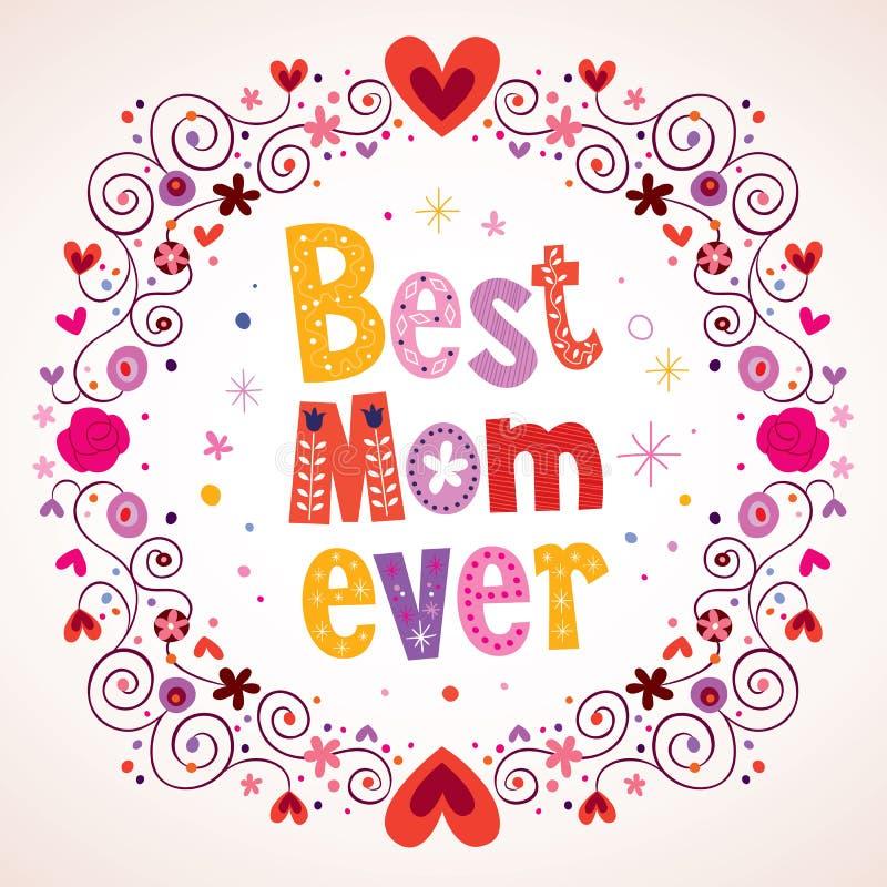 Mest bra hjärta- och blommakort för mamma någonsin royaltyfri illustrationer