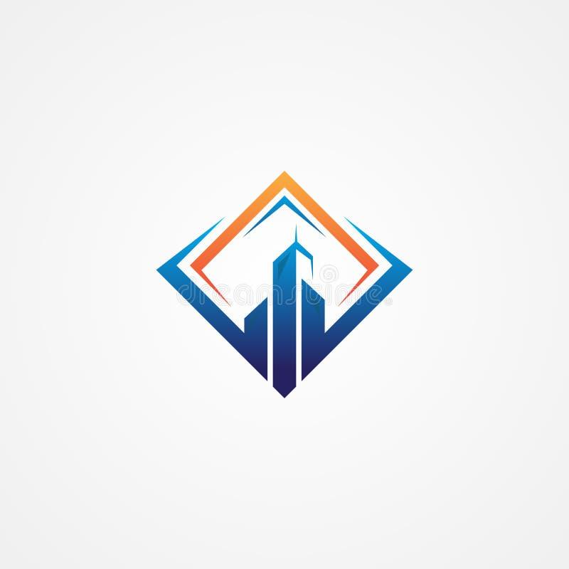 Mest bra idérikt illustrationbyggnadssymbol med fyrkantiga ramar royaltyfri illustrationer
