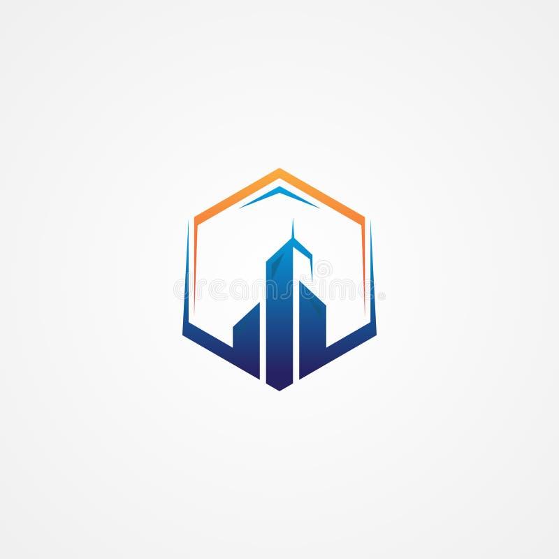 Mest bra idérikt illustrationbyggnadssymbol med sexhörning vektor illustrationer