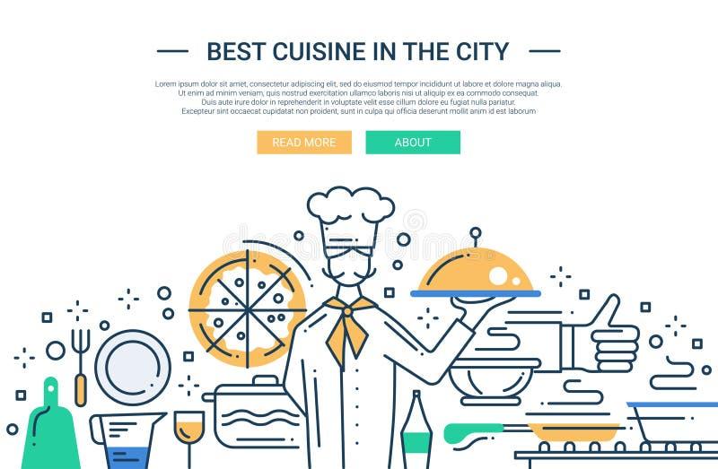 Mest bra kokkonst i staden - fodra designwebsitebanret stock illustrationer