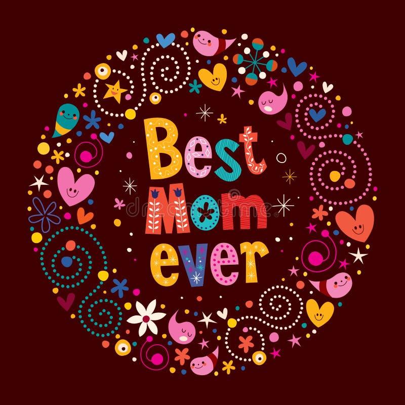 Mest bra mamma för lyckligt kort för moderdag retro någonsin vektor illustrationer