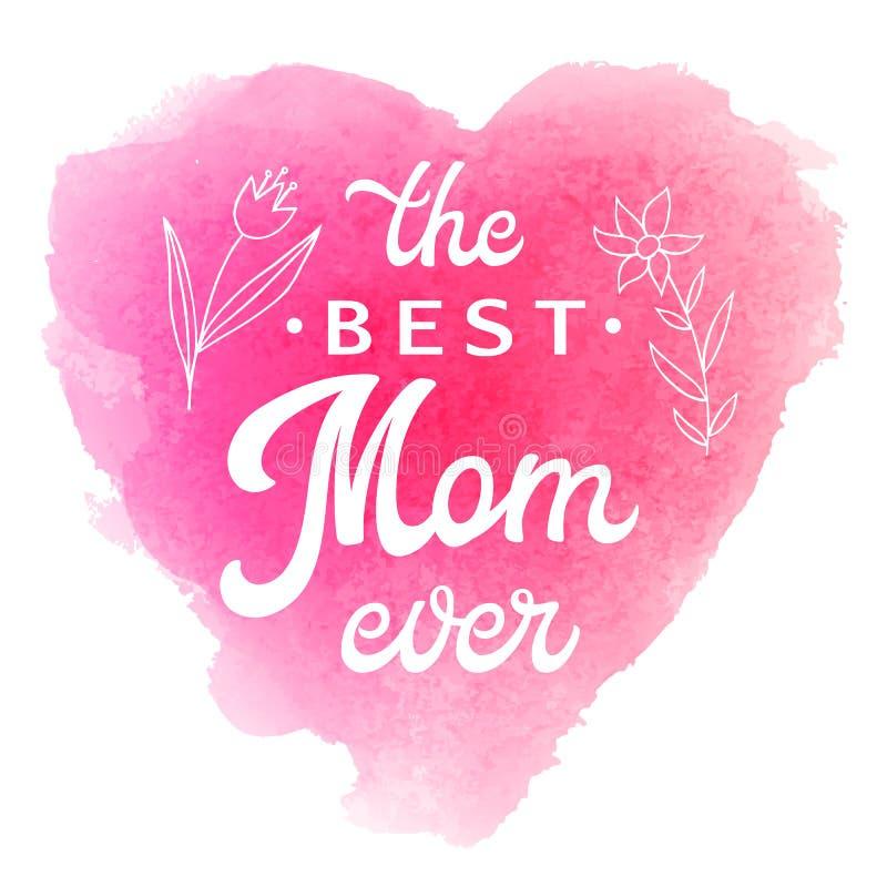 Mest bra mamma någonsin Kort med blommor och bokstäver vektor illustrationer