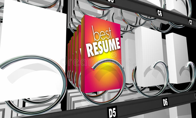 Mest bra meritförteckningsökande Job Candidate Vending Machine 3d Illustrat stock illustrationer