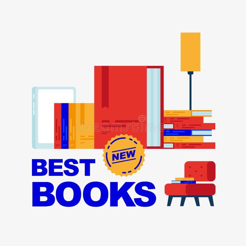 Mest bra nya böcker royaltyfri illustrationer