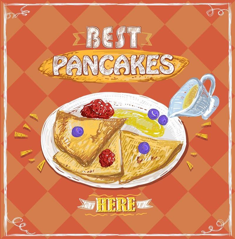 Mest bra pannkakor här och att annonsera banret med hand drog pannkakor royaltyfri illustrationer