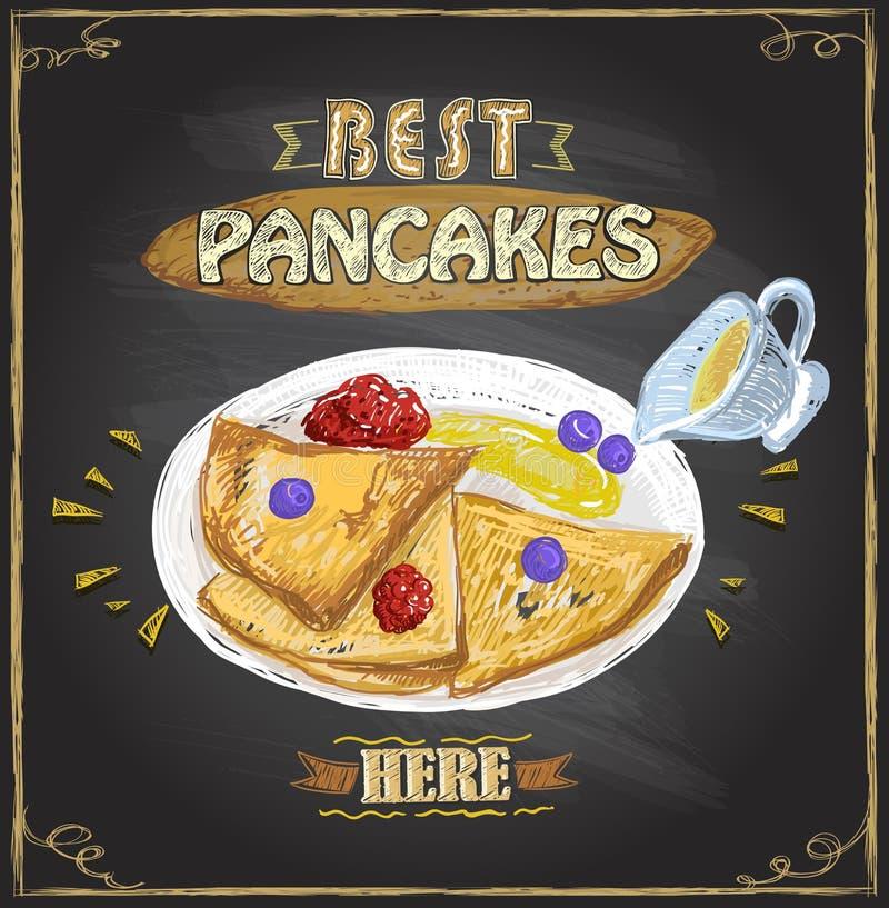 Mest bra pannkakor här, vektoraffischen med pannkakor tjänade som med bär vektor illustrationer