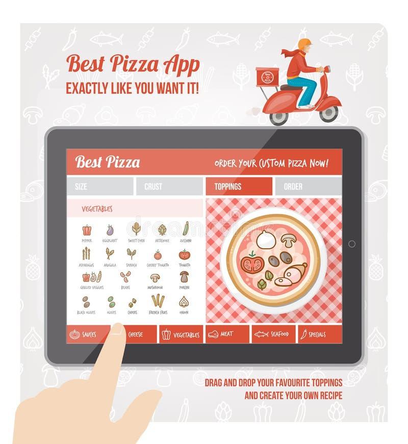 Mest bra pizza app royaltyfri illustrationer