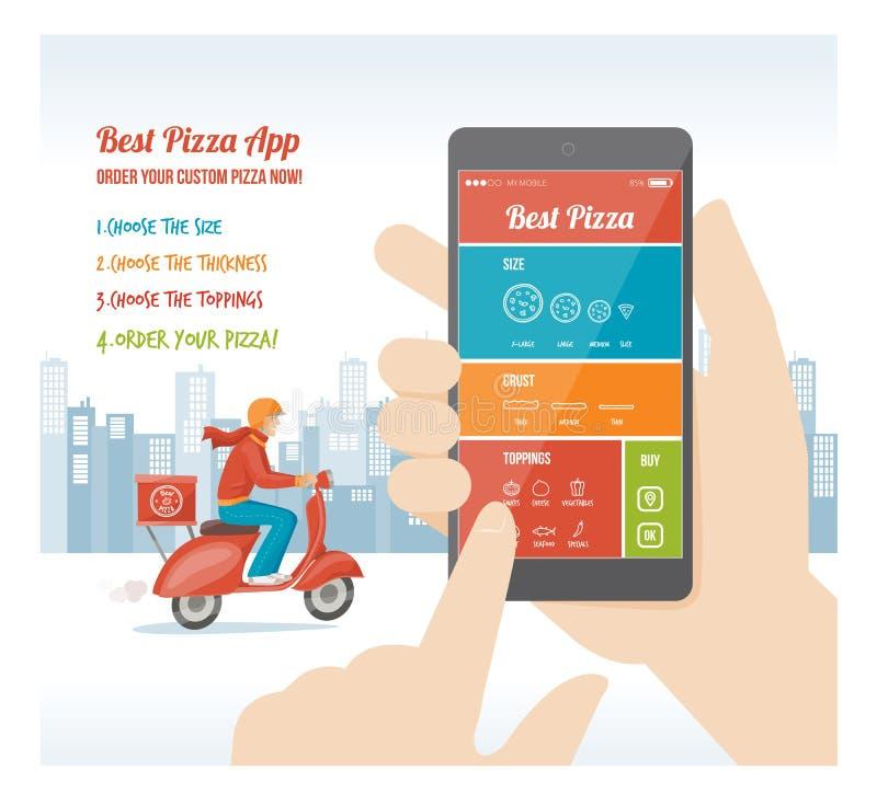 Mest bra pizza app vektor illustrationer