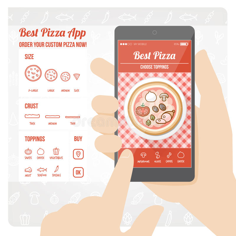 Mest bra pizza app royaltyfri illustrationer