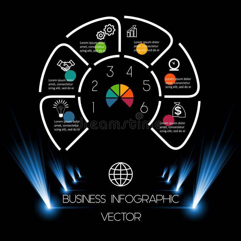 Mest bra position för diagrammall 6 för information på mörk backgroun stock illustrationer