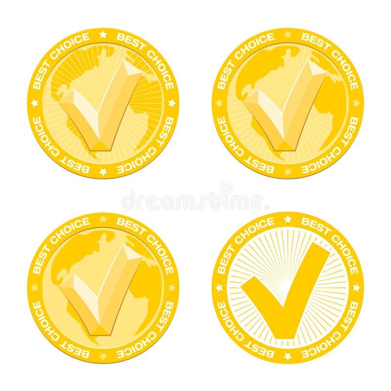 Mest bra prima guldmedalj, utföra i relief fästing på världskarta Utmärkelse för utmärkt gods royaltyfri illustrationer