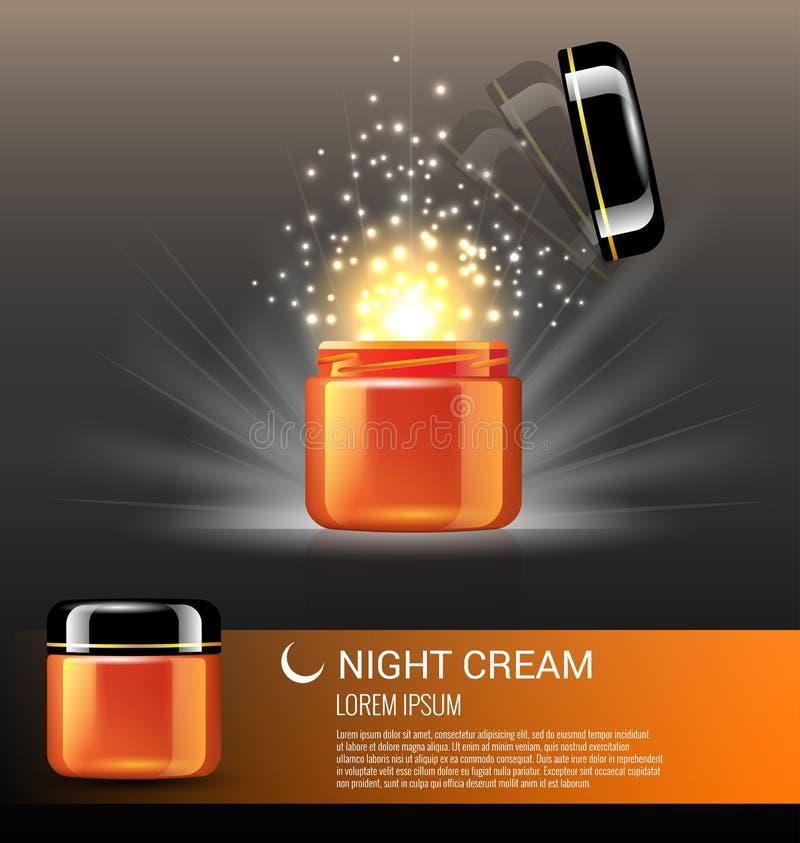 Mest bra produkter för nattkräm för hudomsorg royaltyfri illustrationer
