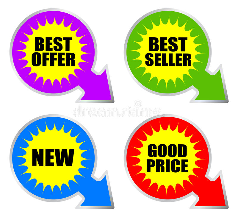 Mest bra produktklistermärke vektor illustrationer