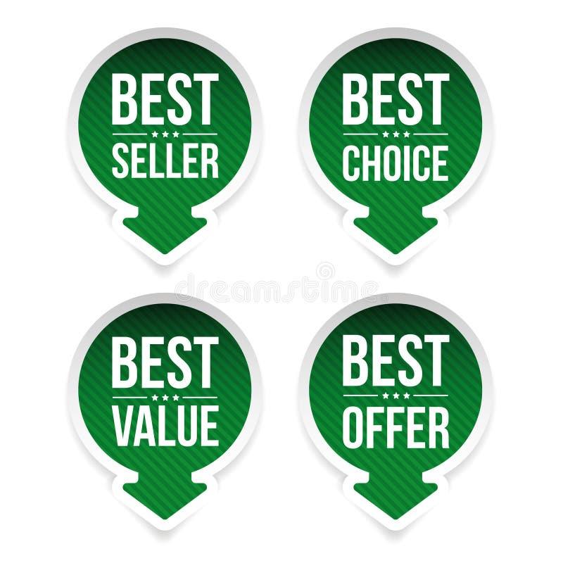 Mest bra säljare, bästa värde, bästa val royaltyfri illustrationer