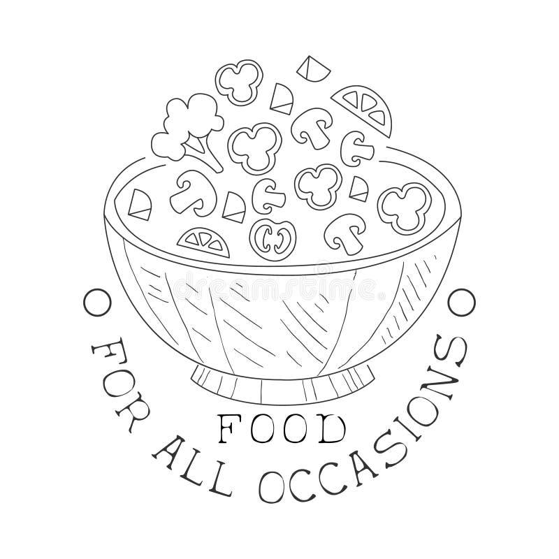 Mest bra sköta om tjänste- hand dragit svartvitt tecken med mallen för design för salladbunke med Calligraphic text royaltyfri illustrationer