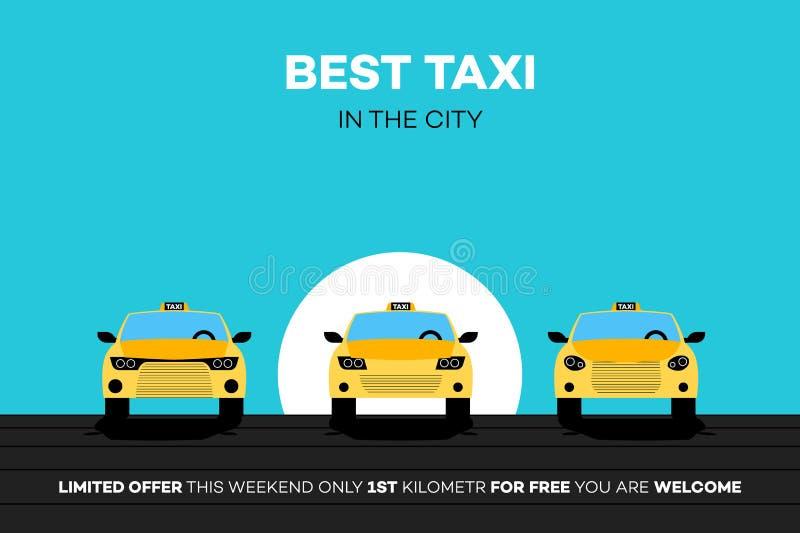 Mest bra taxibilar i staden också vektor för coreldrawillustration royaltyfri illustrationer