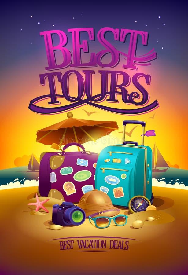 Mest bra turnerar affischen med stora resväskor, hatt, solglasögon, kompass och kamera, mot bakgrunden för sommarsolnedgångstrand vektor illustrationer