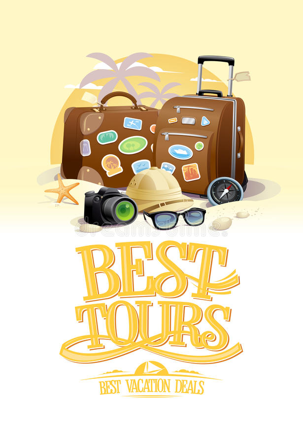 Mest bra turnerar designbegrepp med två stora resväskor, solglasögon, hatt, kompass och kamera, mot sommarstrandsemesterort på en vektor illustrationer