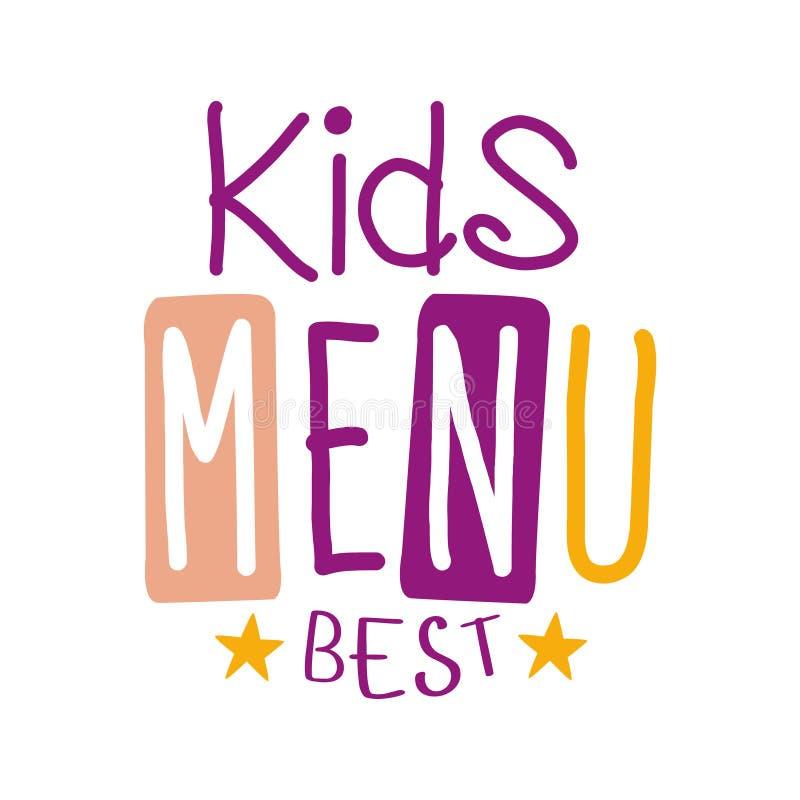 Mest bra ungar mat, special meny för kafé för för Promotecken för barn färgrik mall med text i lila- och rosa färgfärg stock illustrationer