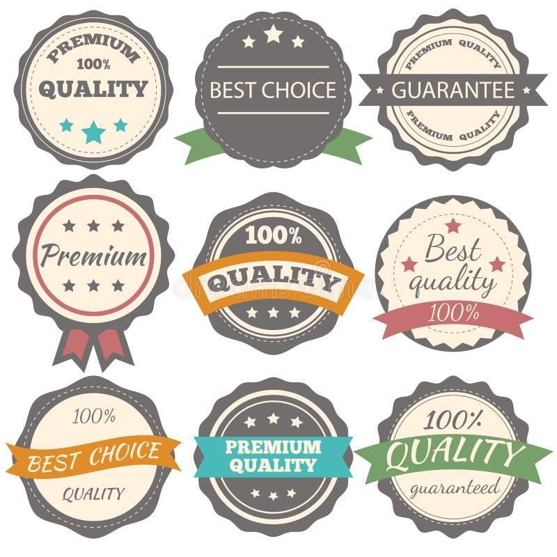 Mest bra val, garanti och högvärdiga kvalitets- vektortappningemblem vektor illustrationer