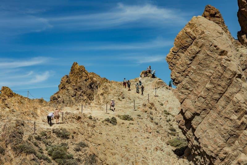 Mest igenkännlig sikt av monteringen Teide på Tenerife Det härliga landskapet i nationalparken på Tenerife med det berömt vaggar, arkivbild