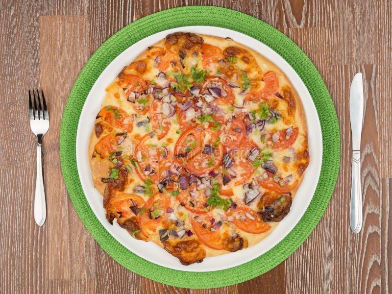 Mest läcker rund pizza royaltyfri fotografi