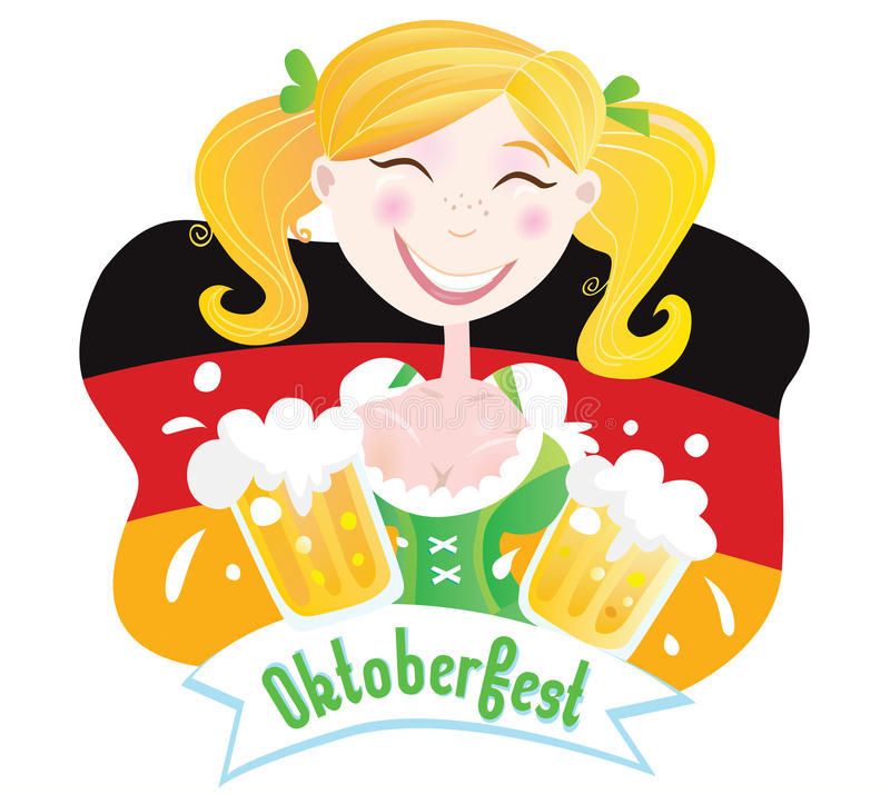 mest oktoberfest bavariankvinnlig stock illustrationer