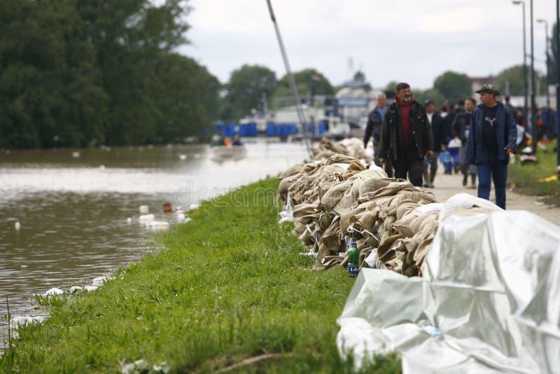 Mest ond översvämning på rekord över Balkansna i Serbien arkivfoto