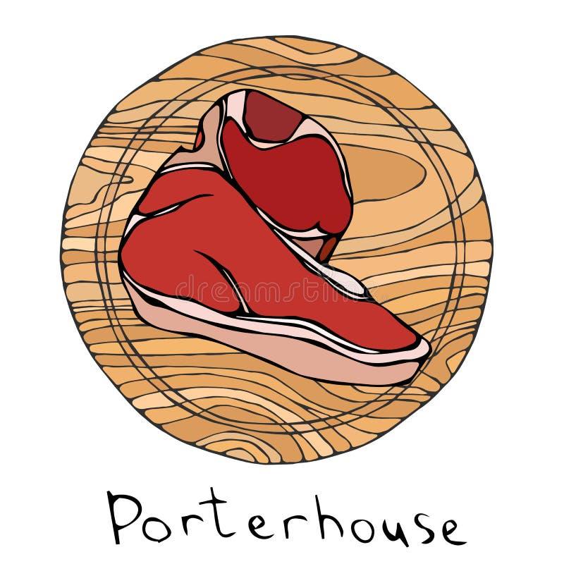 Mest populär biffPorterhouse på en rund träskärbräda Nötköttsnitt Kötthandbok för slaktaren Shop eller stekhusrestaurang mig stock illustrationer