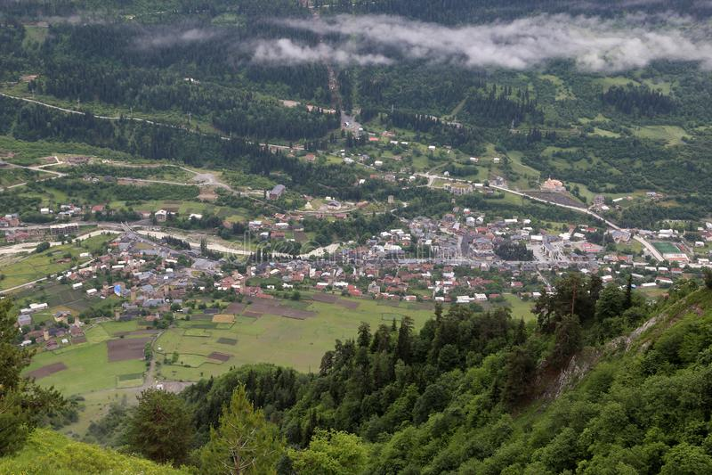 Mestia村庄的看法从观察poin的 免版税图库摄影