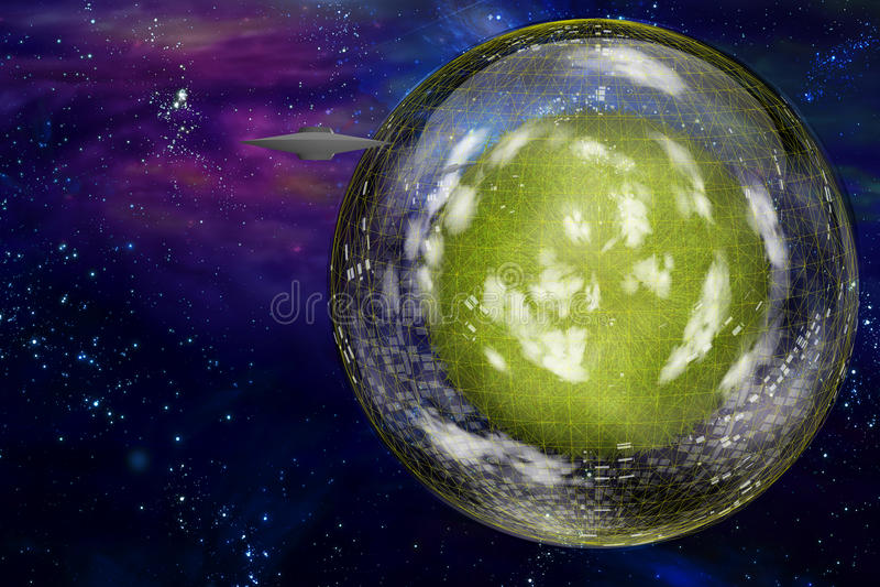 Mestiere del piattino vicino alla grande nave interstellare della città illustrazione vettoriale