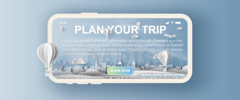 mestiere di carta 3D e taglio della città di viaggio Francia, festa creativa di Parigi della torre Eiffel del paesaggio dei punti illustrazione vettoriale