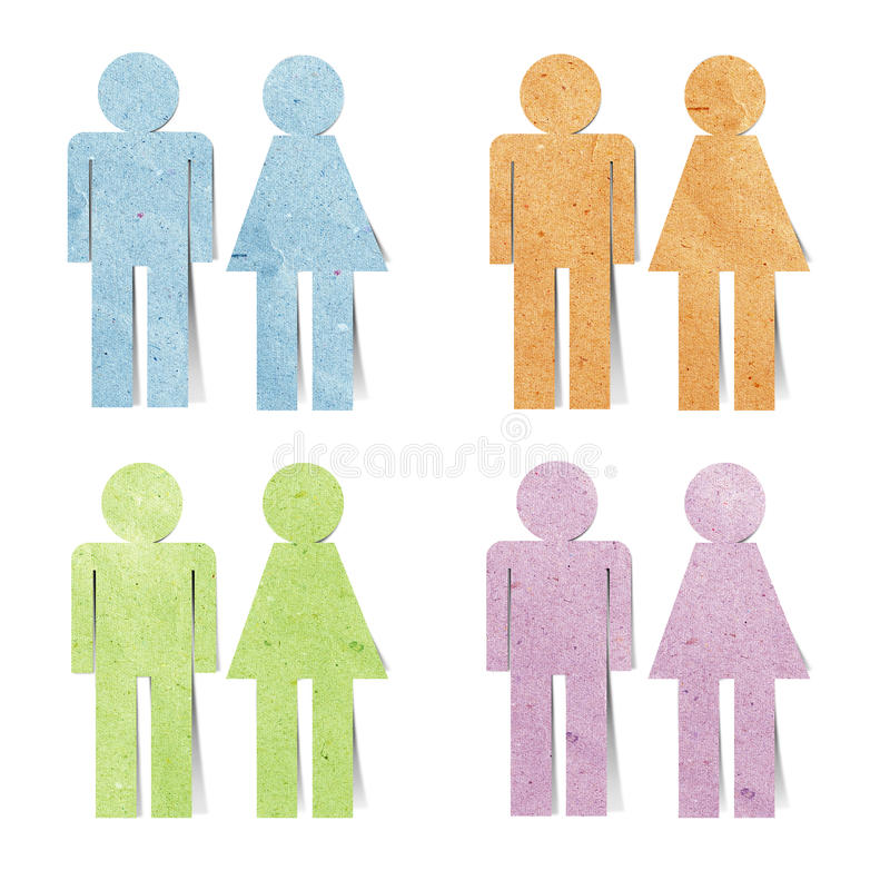 Mestiere di carta riciclato icona del sesso della modifica immagine stock