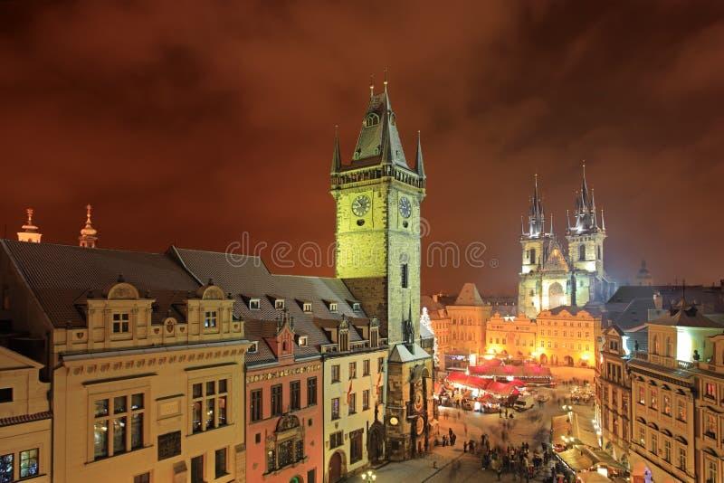 mesto晚上老布拉格方形星形城镇 免版税库存照片