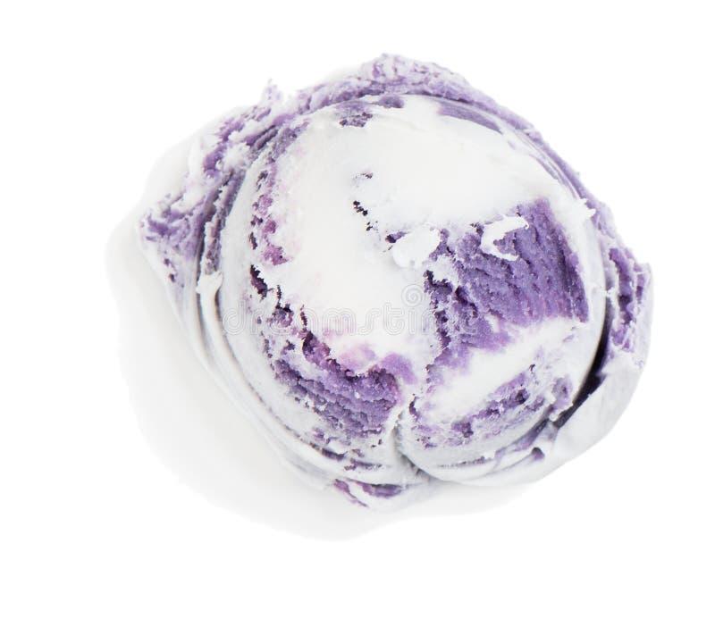 Mestolo del gelato del mirtillo, vista superiore immagine stock